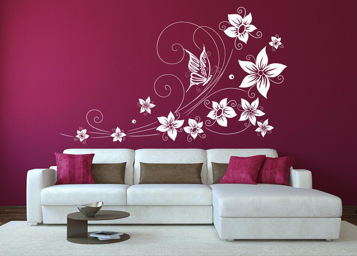 Floral 44 stickere decorative living stickere perete - Wandtattoo wohnzimmer ...